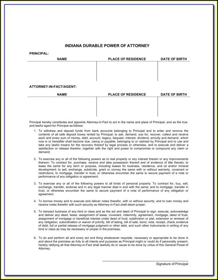 Free General Power Of Attorney Form Indiana
