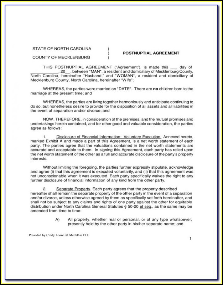Free Postnuptial Agreement Form Pdf Form Resume Examples