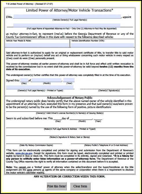Free Power Of Attorney Form Ga