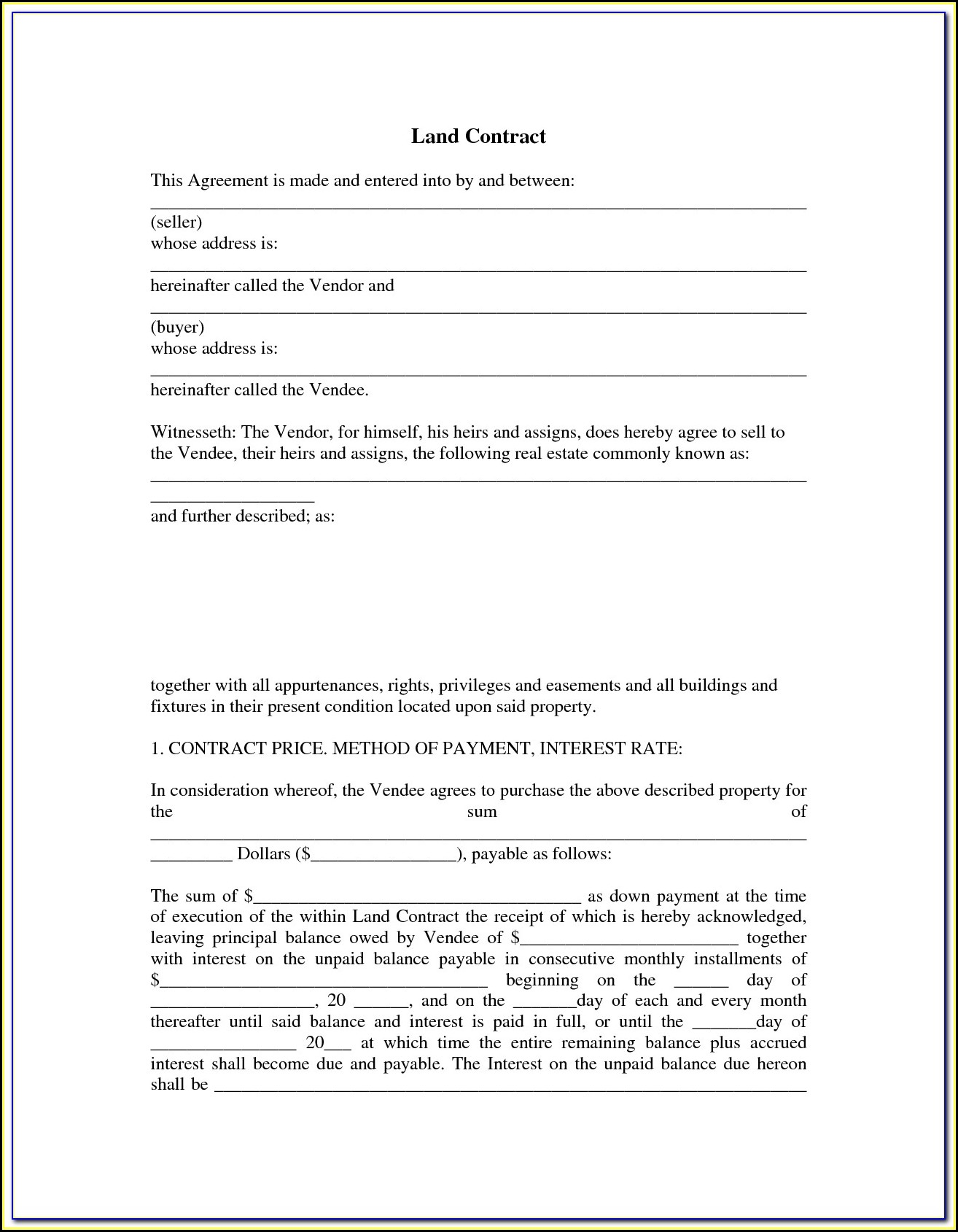 Free Printable Land Contract Forms Indiana
