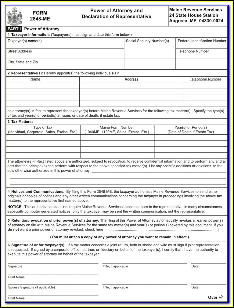 Free Printable Power Of Attorney Form For Maine