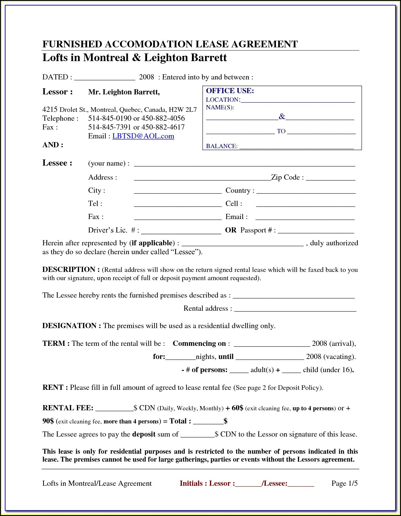 Free Printable Rental Agreement Forms Alberta