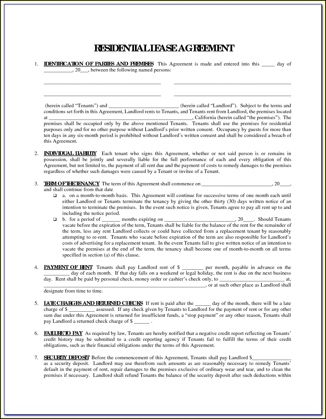 Free Printable Rental Agreement Forms In Spanish Form Resume