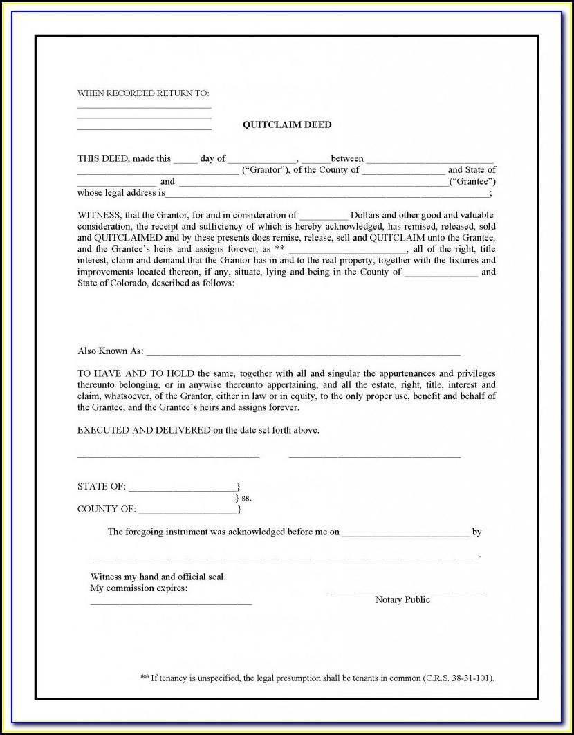 Free Quit Claim Deed Form Orange County Florida