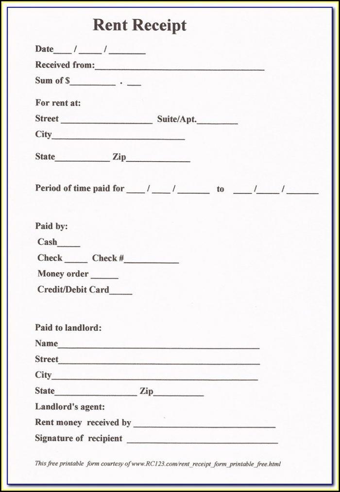 Free Rent Receipt Format India