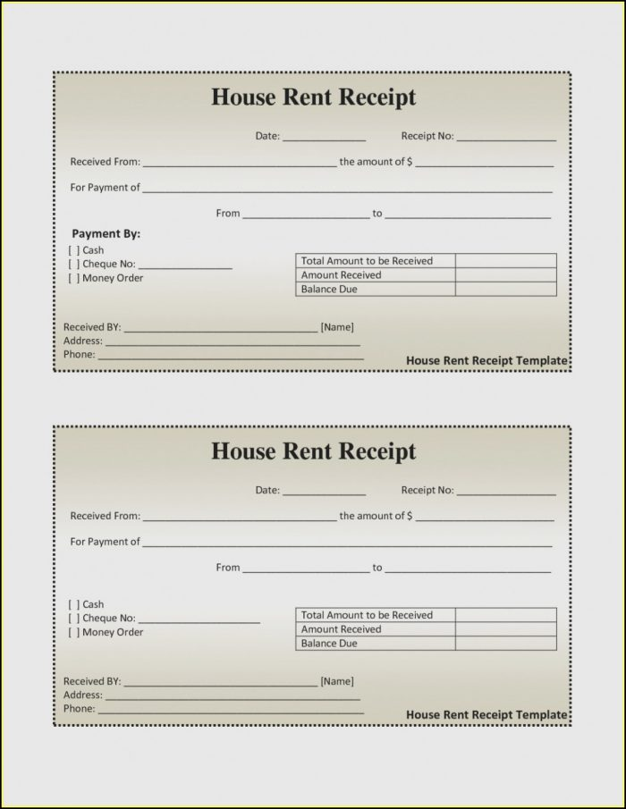 Free Rental Receipt Form