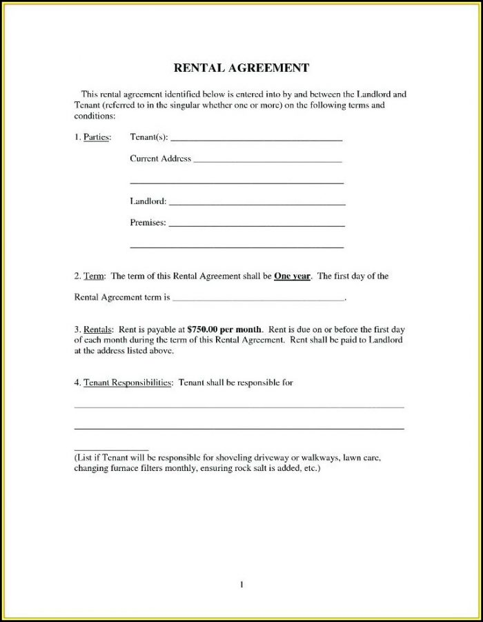 Free Simple Rental Agreement Forms To Print