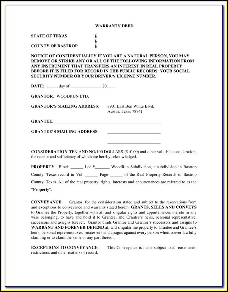 photograph regarding Printable Warranty Deed Texas identify Totally free Texas Promise Deed Style With Shops Lien - Sort