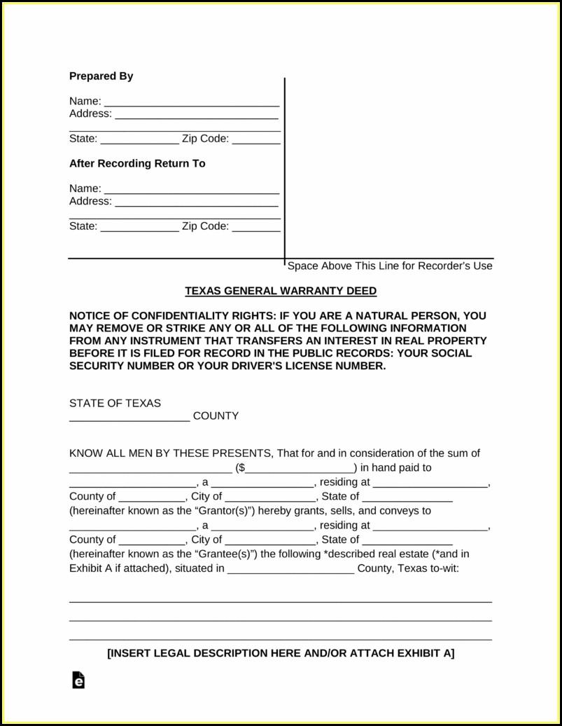 General Warranty Deed Form Texas Free