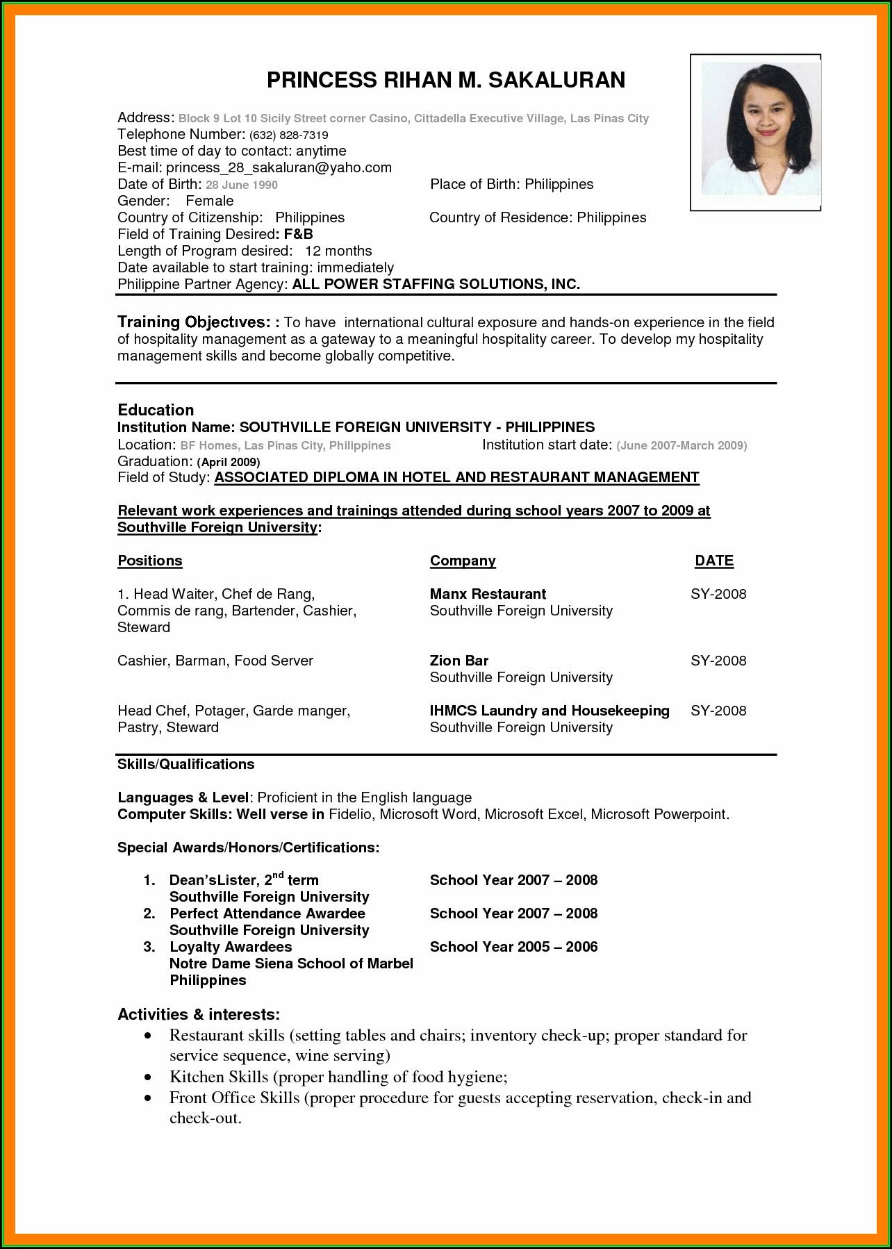 International Standard Resume Format Doc - Resume : Resume Examples ...