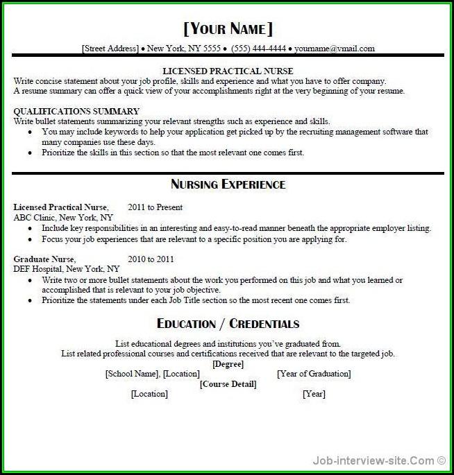 Lpn Nursing Resume Template Free