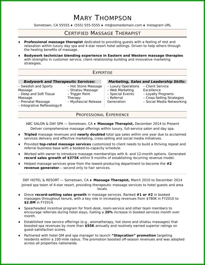 Massage Therapist Resume Skills