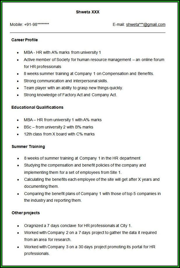 Mba Sample Resume For Freshers In Hr
