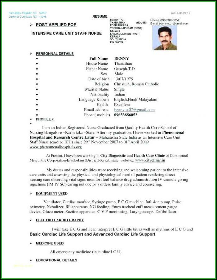 Nursing Resume Format Pdf