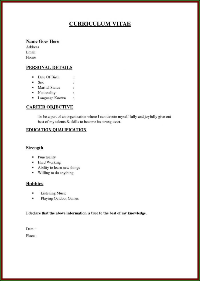 Outline Cv Example