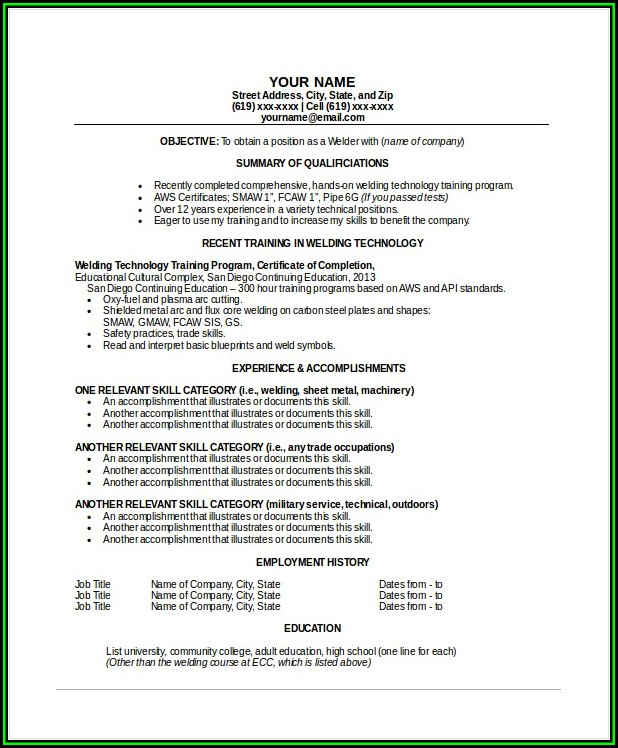 Pipe Welding Resume Examples