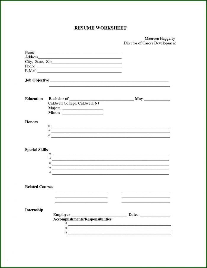 Print Free Blank Resume
