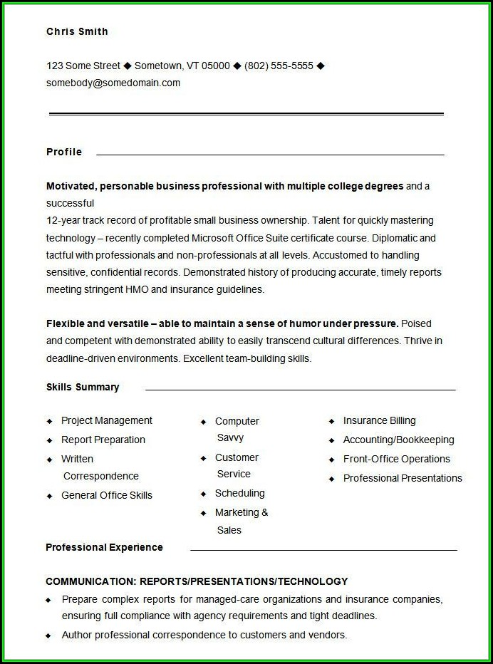 Printable Functional Resume Sample