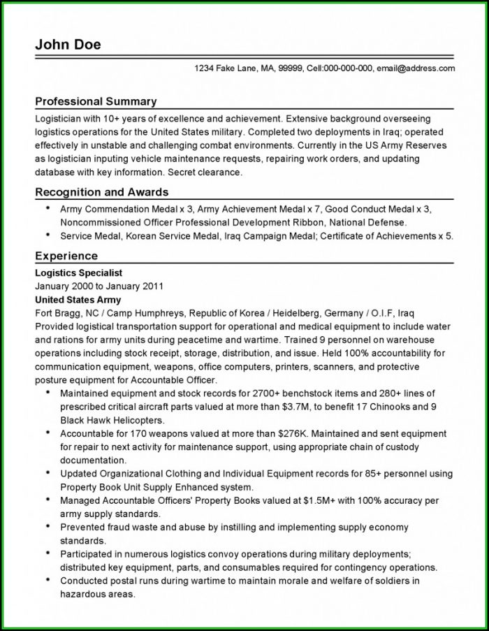 Professional Military Resume Templates