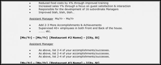 Restaurant Manager Cv Template Download