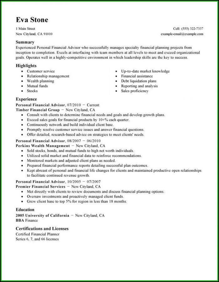 Resume For Financial Advisor Trainee