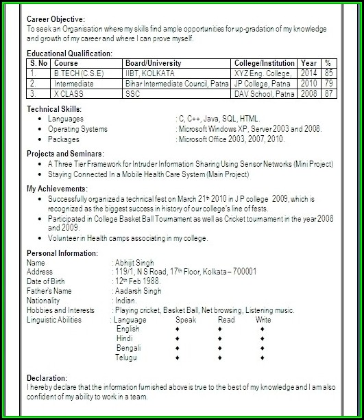 Resume For Freshers Engineers Computer Science