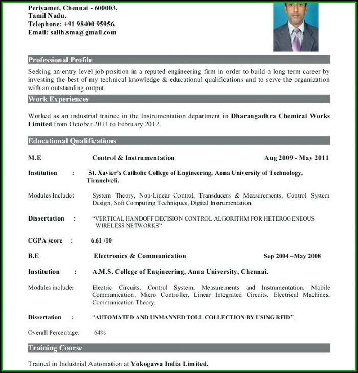 Resume For Freshers Engineers Doc