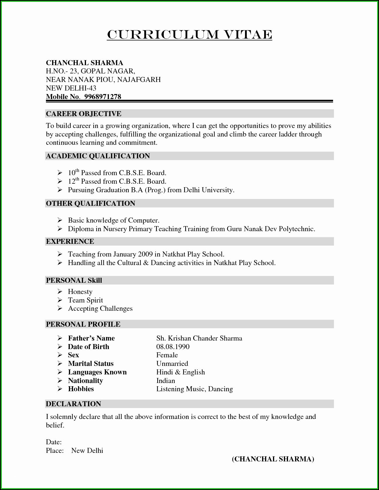 Resume Format Free Download In Ms Word 2010 Resume Resume