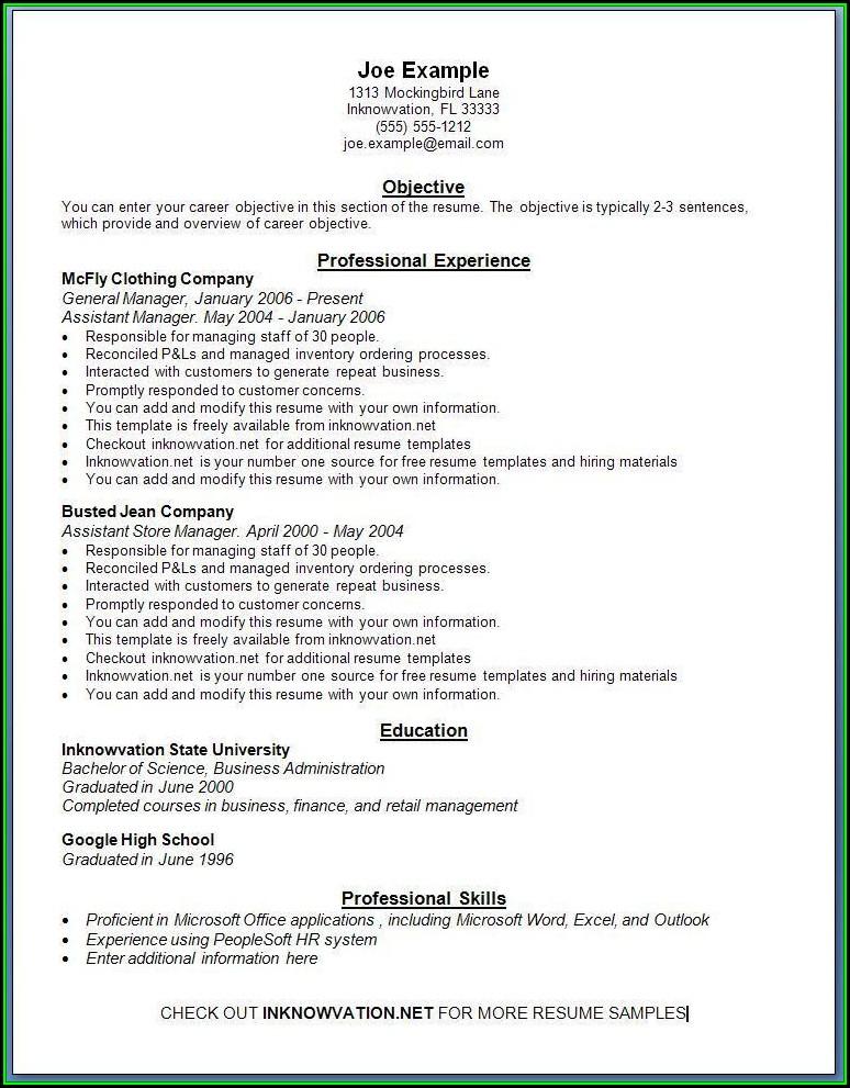 Resume Format Free Online