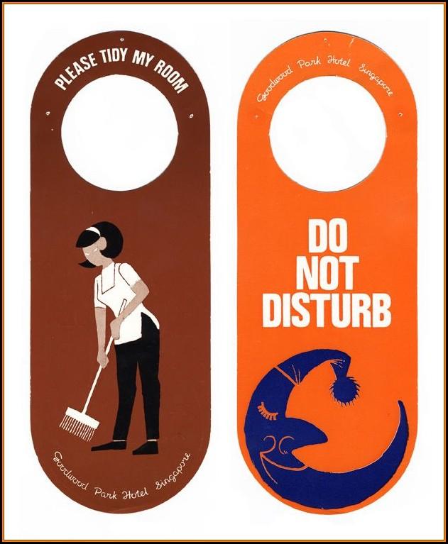 Hotel Do Not Disturb Door Hanger Template