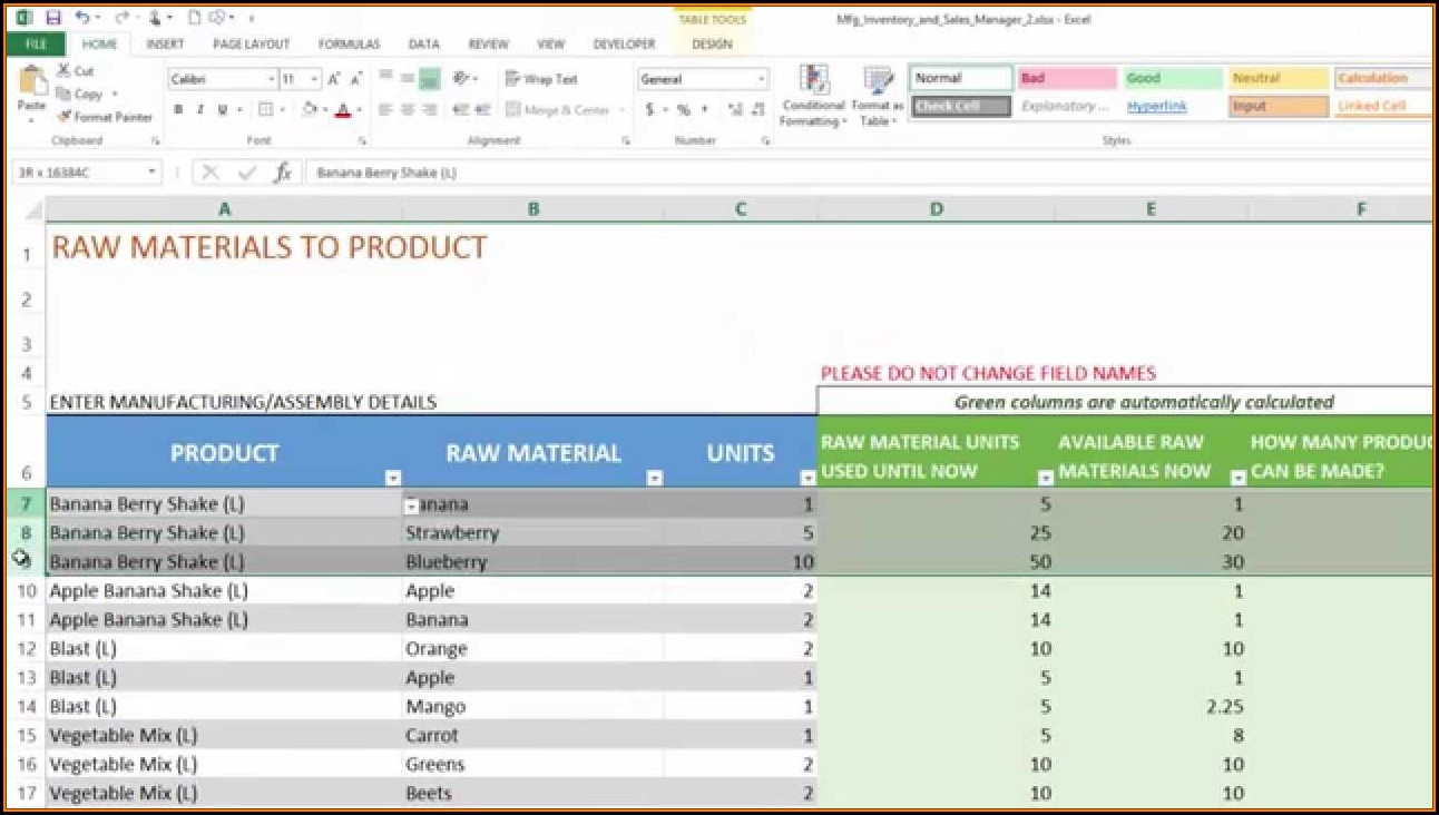 Inventory And Sales Management Excel Template