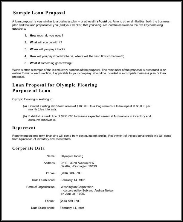 Loan Proposal Template Free
