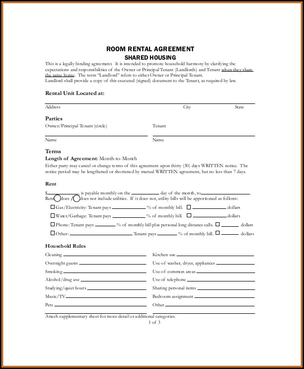 Lodger Agreement Template Free Download