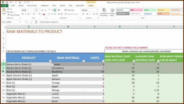 Manufacturing Inventory And Sales Manager Excel Template