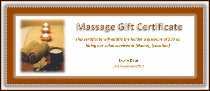 Massage Therapy Gift Certificate Template
