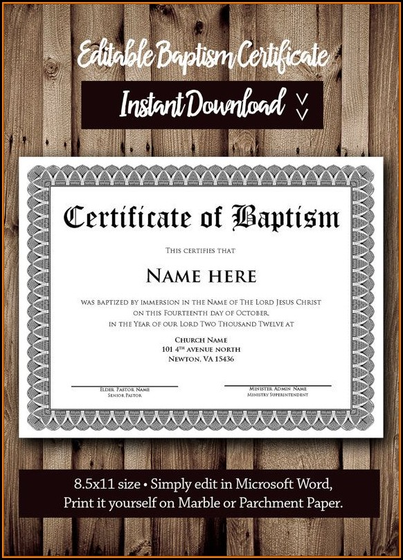 Microsoft Word Baptism Certificate Template