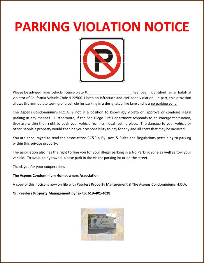 Parking Violation Notice Sample