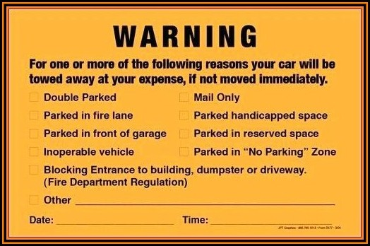 Parking Violation Notice Template