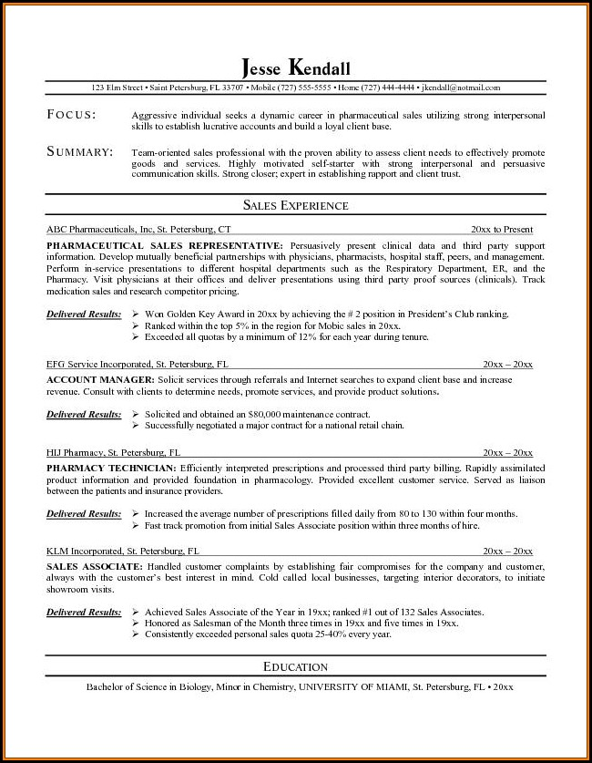 Pharmaceutical Sales Resume Templates