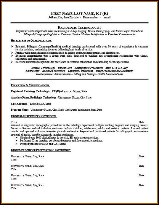 Radiologic Technologist Student Resume Template