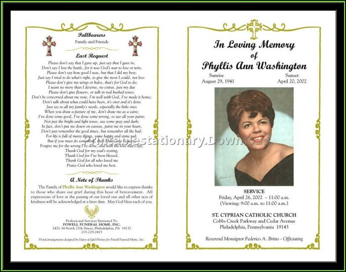 Celebration Of Life Template Free