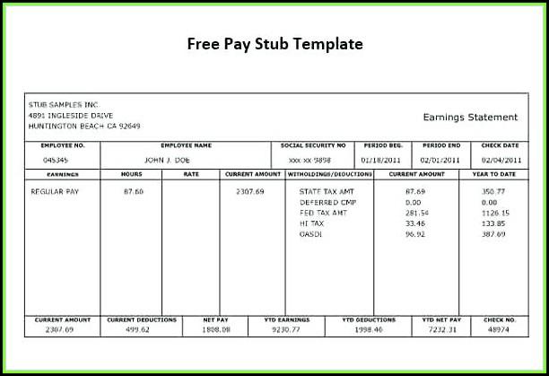 Check Stub Template Free Print