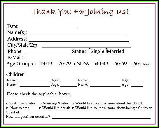 Church First Time Visitor Card Template