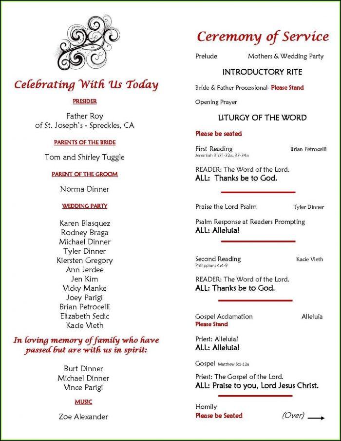 Church Wedding Program Layout