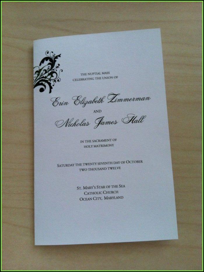 Church Wedding Program Template Free