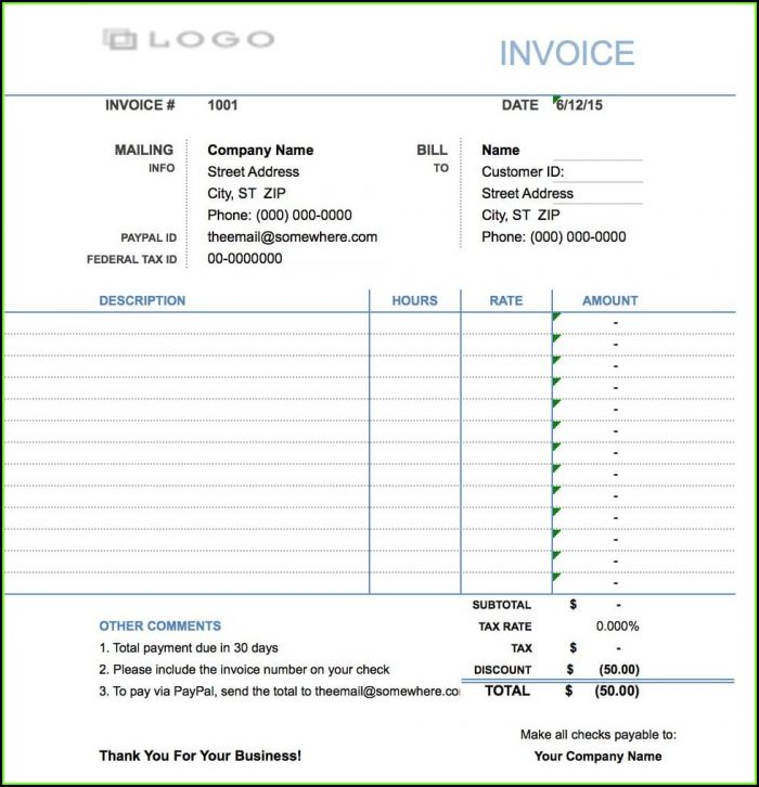 Consultant Hourly Invoice Template