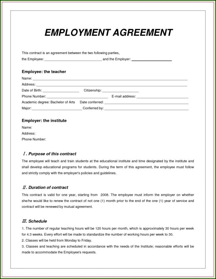 Daycare Employee Contract Template