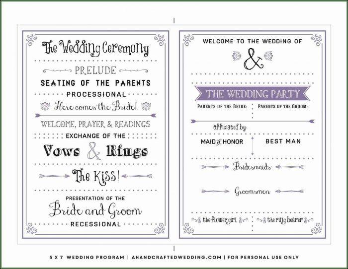 Diy Wedding Program Template Free