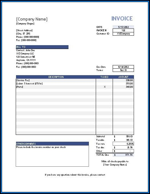 Excel Invoice Template Mac