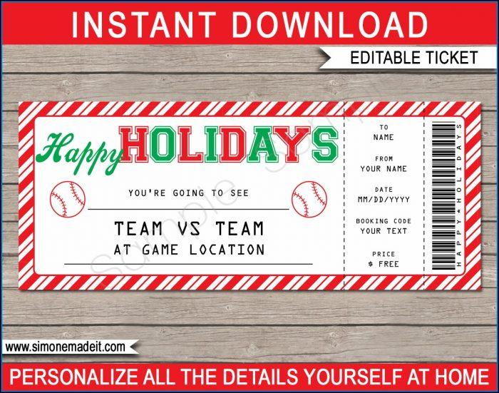 Fake Baseball Ticket Template